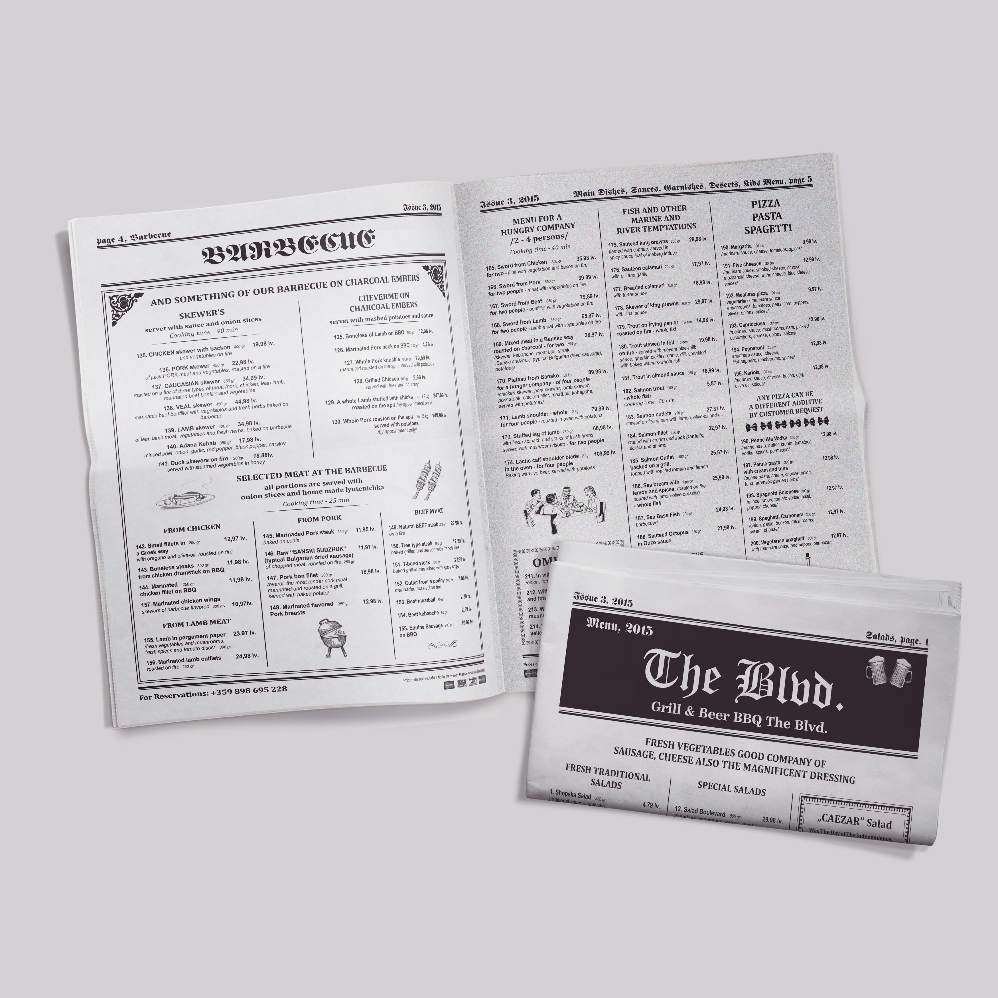 Newspaper Menu The Blvd Greenfeel